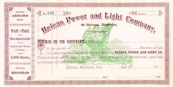 Helena Power and Light Company - Montana, 1890's