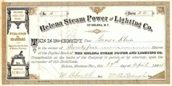 Helena Steam Power and Lighting Co. 1884 - Montana Territory