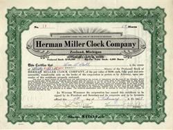 Herman Miller Clock Company signed by Herman Miller and D.J. De Pree - Zeeland, Michigan 1927
