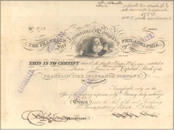 Franklin Fire Insurance Company signed by Henry Carey (Famous Economist) 1836