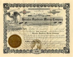 Hercules Syndicate Mining Company of Tonopah Nevada 1908