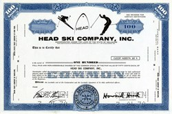 Head Ski Company, Inc. with Howard Head as Chairman - RARE Specimen - Delaware 1970