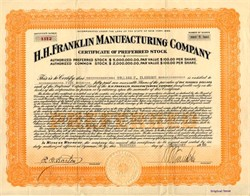H.H. Franklin Manufacturing Company hand signed by founder Herbert H. Franklin- New York 1920