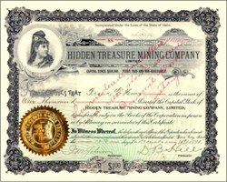 Hidden Treasure Mining Company (Over 122 years old) - Boise City, Idaho 1895