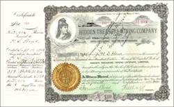 Hidden Treasure Mining Company signed by Freemont Wood (last U. S. Attorney for the Territory of Idaho ) as Secretary 1897