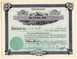 Hi-Toms, Inc. - Carolina League Baseball Team - High Point and Thomasville, North Carolina 1954