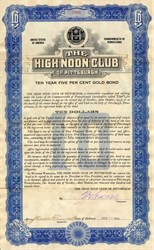 High Noon Club signed by Fred H. Groves (Groves Piano Co.)  - Pittsburgh 1924