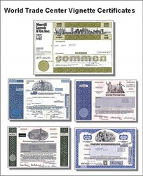 Historic 5 Stock Certificate Package of New York Skyline and World Trade Center Vignettes