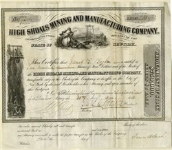 High Shoals Mining and Manufacturing Company -  Incorporated in New York - Property located in North Carolina 1854