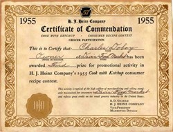 "H.J. Heinz Company's 1955 ""Cook With Ketchup Contest Certificate"" Third Place Prize"
