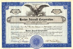 Horton Aircraft Corporation ( Securities Fraud Action by SEC)  - Nevada 1953
