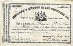 Hoboken and Hudson River Turnpike Company - New Jersey 1858