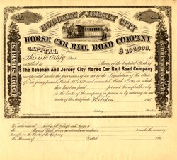 Hoboken and Jersey City Horse Car Rail Road Company - New Jersey 1860's
