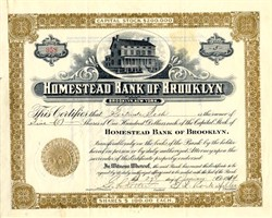 Homestead Bank of Brooklyn (Became Citibank) signed by E. L. Rockefeller - Brooklyn, New York 1914