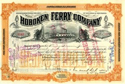 Hoboken Ferry Company hand signed by Lehman Brothers Co-Founder (Emanuel Lehman)  - New Jersey 1897