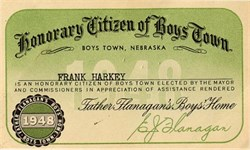 Honorary Citizen of Boys Town by Father Edward Flanagan - Nebraska 1948