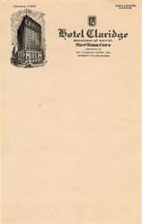 Hotel Claridge Letterhead - New York