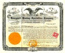 Honeywell Heating Specialties Company  ( Honeywell, Inc - Dow Average Component ) signed by Founder, Mark C. Honeywell - Wabash, Indiana 1924