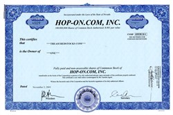 Hop-On.Com, Inc. (Another Dot Com)  - Nevada 2001