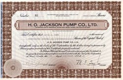 H.O. Jackson Pump Co., Ltd. 1931 - Reno, Nevada