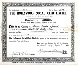 Hollywood Social Club Limited 1930