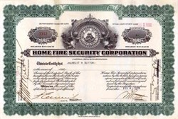 Home Fire Security Corporation - New York 1929