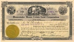 Homestake Monte Cristo Gold Corporation - Esmeralda County, Nevada 1926
