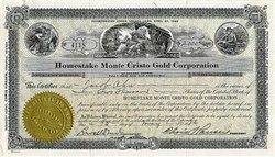 Homestake Monte Cristo Gold Corporation -Tonopah, Nevada 1926