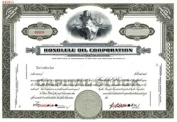 Honolulu Oil Company Specimen Stock Certificate