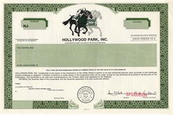 Hollywood Park, Inc. - Famous Los Angeles Racetrack (New Site of the Los Angeles Entertainment Center, the home of the Los Angeles Rams of the National Football League) - Delaware 1989