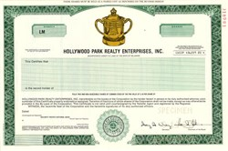 Hollywood Park Realty Enterprises, Inc. (New Site of the Los Angeles Entertainment Center, the home of the Los Angeles Rams of the National Football League) - Delaware 1989