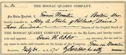 Hoosac Quarry Company -  North Adams, Berkshire Co., Massachusetts -  1872