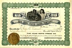 Hoag Rapid Press Comoany - California 1904
