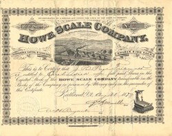 Howe Scale Company signed by John Boardman Page, Vermont Governor  - Rutland, Vermont 1879