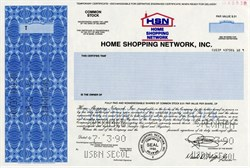 Home Shopping Network, Inc. ( Roy Speer as Chairman) -  RARE Specimen Stock Certificate - 1990