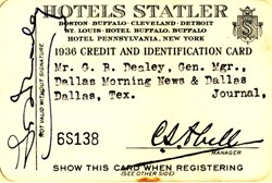 Hotels Statler Company, Inc. Credit Card signed by George Dealey (Dealey Plaza was the  location of the assassination of John F. Kennedy)  - Dallas, Texas 1936