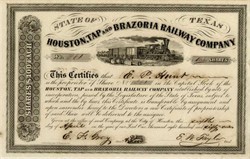 Confederate Texas Railroad - Houston, Tap and Brazoria Railway Company (Scare Issued Certificate)  - Texas 1861