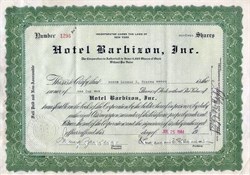 Hotel Barbizon, Inc. - Famous New York Hotel  (Became Melrose Hotel) - 1945