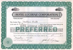 Hotel Lucerne Corporation 1929