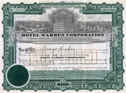 Hotel Warren Corporation - 1919 - Offices located in Cleveland, Ohio