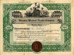 Houston Westend Realty Company signed by Tennessee Governor, Ben Walter Hooper  - Texas 1914