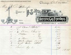 H.S. Holden Artistic Gas Fixtures 1880's