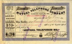 Mutual Telephone Company of Honolulu -  Hawaiian Islands 1892