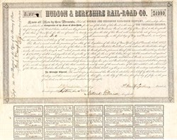 Hudson & Berkshire Rail-Road Co. signed by future U. S. President Millard Fillmore as Comptroller - New York 1848