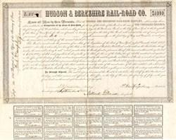 Hudson & Berkshire Rail-Road Co. signed by future U. S. President Millard Fillmore as Comptroller - New York 1848