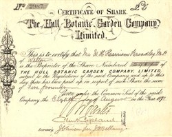 Hull Botanic Garden Company Limited -  England 1881