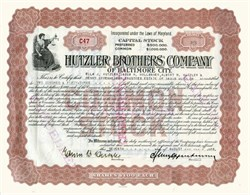 Hutzler Brothers Company of Baltimore City signed by Edwin B. Hutzler and Henry Oppenheimer - Baltimore, Maryland 1916