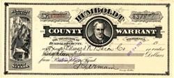 Humboldt County Warrant - Nevada 1929