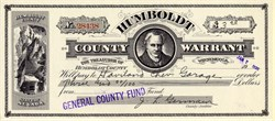 Humboldt County Warrant from the General County Fund - Nevada 1935