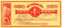 Humboldt County Warrant - Nevada 1919